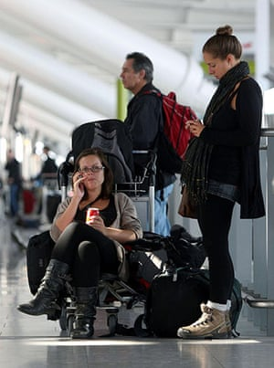 Volcanic ash: Passengers wait at Heathrow Airport after volcanic ash caused delays