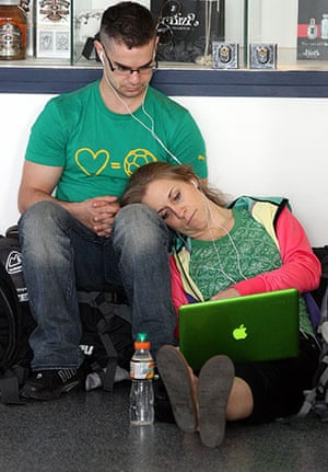 Volcanic ash: A couple waiting after flights were cancelled at Newcastle Airport
