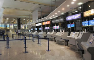 Volcanic ash: A general view of the deserted check-in area of Leeds Bradford Airport