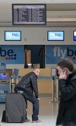 Volcanic ash: Passengers wait for their flights at Belfast City Airport, Northern Ireland