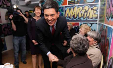 Britain's Labour Party MP Miliband speaks to party members at his constituency in South Shields