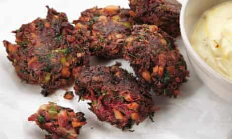 Beetroot fritters with lemon and saffron yoghurt