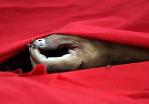 protests in Thailand: The hand of a dead anti-government protester