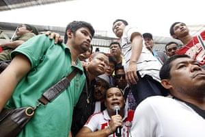 Bangkok protests: Bodyguards surround anti government protest leader Natthawut Saikua