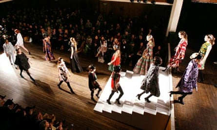 Models on the catwalk during the Duro Olowu fashion show at London Fashion Week