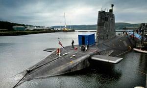 Trident nuclear submarine HMS Vengeance at Faslane.
