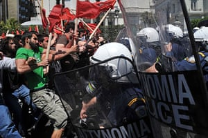 May Day protests: Athens, Greece: Demonstrators clash with police