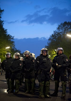 May Day protests: Berlin, Germant: Riot police gather in readiness for possible clashes