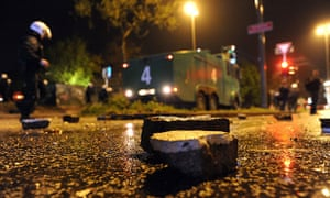 May Day protests: Hamburg, Germany: Large stones lie in a street