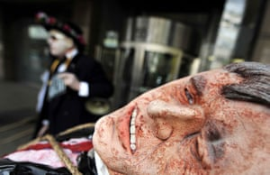 May Day protests: London, UK: An effigy of Gordon Brown