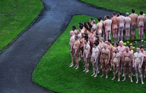 Spencer Tunick: Nude models prepare to pose for Spencer Tunick in Peel Park, Salford