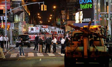 Police block traffic around Times Square after the discovery of a car bomb