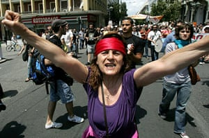 24 Hour Protest: Demonstrators shout slogans in 24 hour protest in Athens, Greece