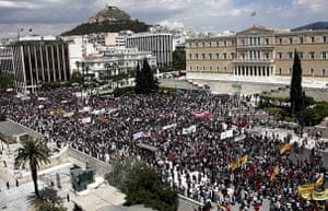 24 Hour Protest: Demonstrators gather during 24 hour protest in Athens, Greece
