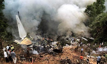Wreckage of Air India plane that crashed in Mangalore
