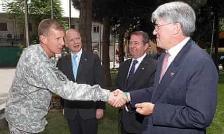 General Stanley McChrystal meets William Hague, Liam Fox and Andrew Mitchell in Kabul, Afghanistan