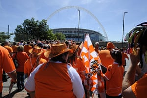 Play off Final: Blackpool fans make their way up Wembley Way