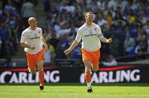 Play off Final: Charlie Adam celebrates 1st goal for Blackpool