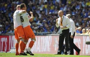 Play off Final: Blackpool boss Ian Holloway celebrates their first goal