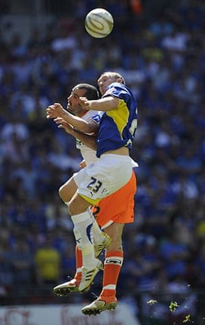 Play off Final: Cardiff's Darcy Blake climbs above Gary Taylor-Fletcher