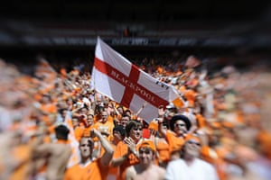 Play Off Final: Blackpool fans wave an England flag