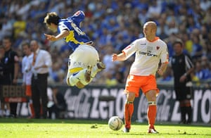 Play Off Final: Crainey tackles a flying Ledley