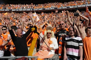 Play Off Final: Blackpool fans celebrate at the end of the game