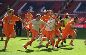Play Off Final: Blackpool players celebrate