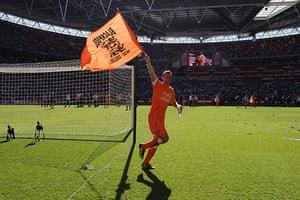 Play Off Final: Ian Evatt celebrates Blackpool's victory
