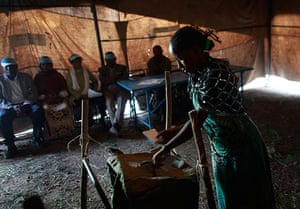 Ethiopia elections: An Ethiopian woman casts her vote at a poling station in Nazret