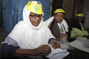 Ethiopia elections: Electoral staff work at a polling station in central Addis Ababa