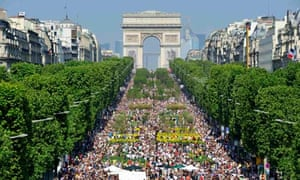 The Champs Elysées in Paris looking like a farmers' market