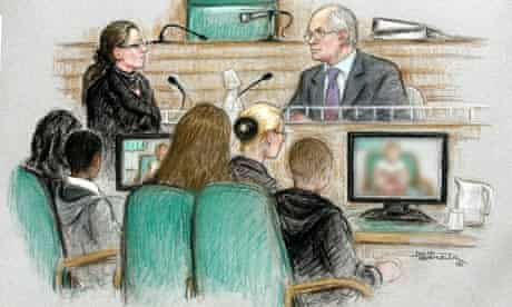 Artist's drawing of case where two boys were found guilty of attempted rape of eight-year-old girl