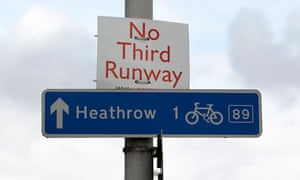 A sign protesting against the third runway at  Heathrow airport
