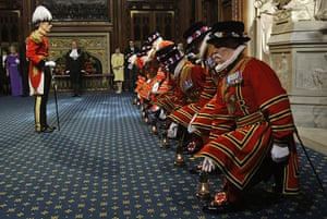 state opening: Yeomen of the Guard conduct a ceremonial search in Westminster