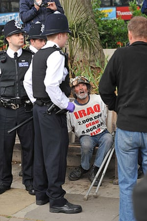 state opening: peace protester brian haws arrested before state opening of parliament