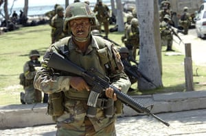 Jamaica: Jamaican soldiers patrol the streets of Kingston