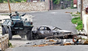 Jamaica: A Jamaica Defense Force armoured vehicle in Hannah Town