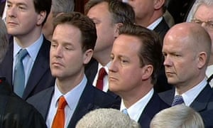 George Osborne, Nick Clegg, David Cameron and William Hague listen to the Queen's speech 25 May 2010