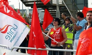 BA cabin crew union members strike near Heathrow airport on the second of their five-day walkout