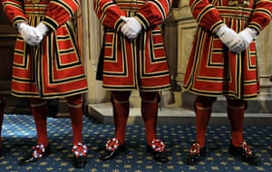 state opening: The Yeomen of the Guard line up inside the Palace of Westminster