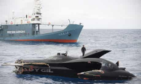 anti-whaling protest vessel the Ady Gil and Japanese whaling vessel
