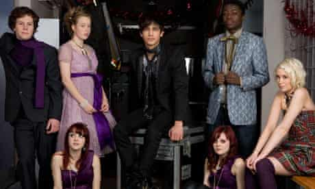 Cast members of the TV programme ' Skins ' on set in Bristol.