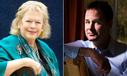 Lady Antonia Fraser and Nick Clegg