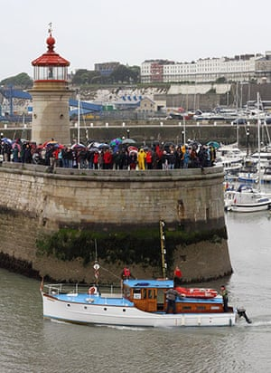 Dunkirk little ships: One of the little ships sets sail for Dunkirk, France, from Ramsgate, Kent