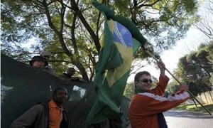 A Brazil football team supporter