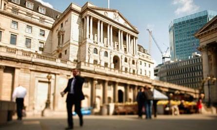 The Bank of England dominates Threadneedle Street in London.