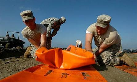 Oil spill, beach protection