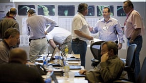 Deepwater Horizon oil rig: oil spill : Technical experts in a conference room at BP offices in Houston