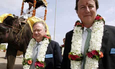 Sir Anthony Bamford, left, with David Cameron